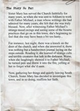 Sister Mary investigator sheet back.